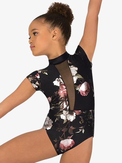 Girls Metallic Rose Mesh Short Sleeve Leotard - Style No SK300C