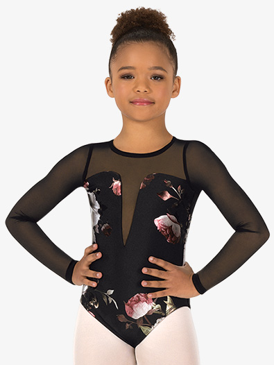 Girls Metallic Rose Mesh Long Sleeve Leotard - Style No SK600Cx