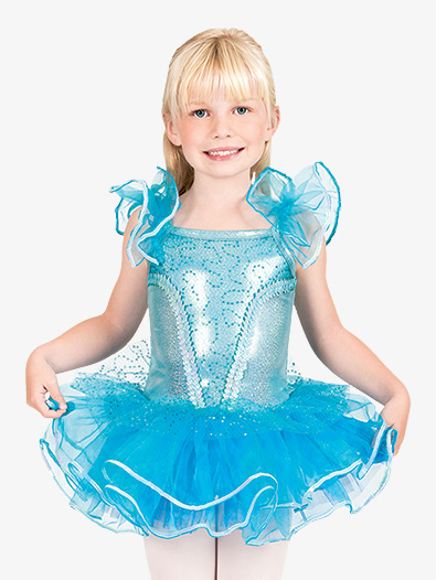 Child Flutter Sleeve Tutu Costume Dress - Style No SK735