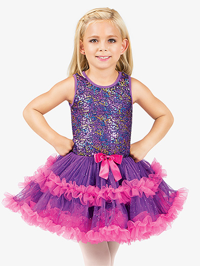 Girls Purple Sequin Bodice Tank Tutu Costume Dress - Style No SK935