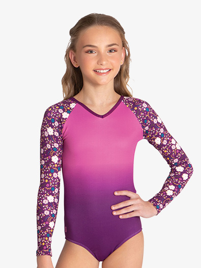 Girls ''Elva'' Floral Long Sleeve Leotard - Style No SPGWH007Cx
