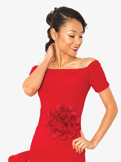 Womens Gathered Short Sleeve Ballroom Dance Top - Style No T805A