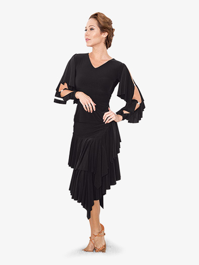 Womens V-Front Ruffled Long Sleeve Ballroom Dance Top - Style No T810