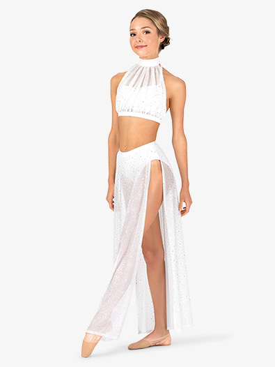 Womens Performance Twinkle Mesh Side Slit Long Skirt - Style No TW611x
