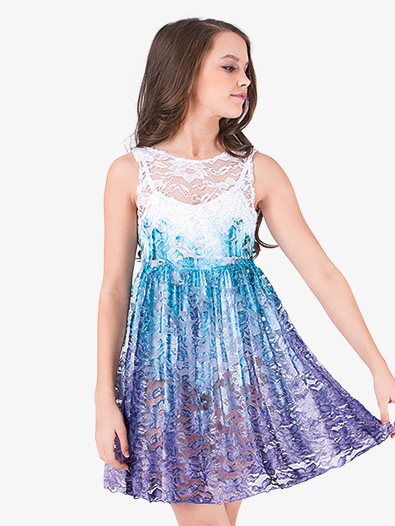Girls Hand Painted Lace Tank Overdress - Style No WC203C