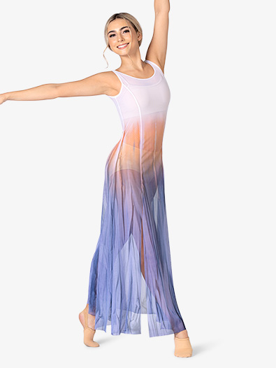Girls Hand Painted Tank High Slit Mesh Lyrical Dress - Style No WC232C