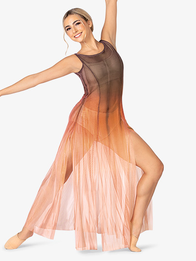 Adult Plus Size Hand Painted Long Tank Mesh Lyrical Dress - Style No WC232Px