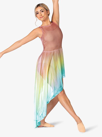 Adult Hand Painted Asymmetrical Side Drape Tank Lyrical Dress - Style No WC233