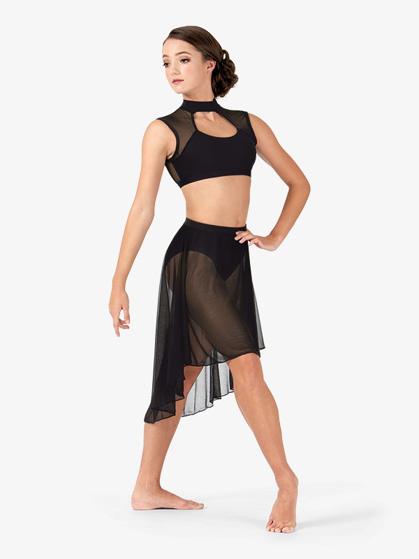 Body Wrappers Adult Mid Length High-Low Mesh Dance Skirt BW9101
