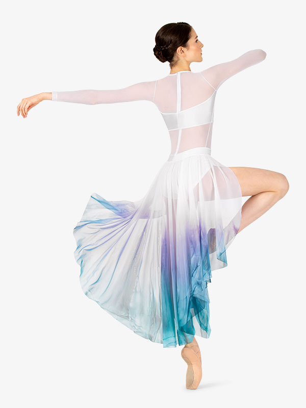 The Music Blue /& Pink Contemporary Lyrical Ballet Dance Tunic Dress Costume CMED